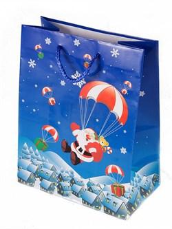 """Бумажный ламинированный пакет """"Дед Мороз парашютист"""" 18*23см. - фото 6472"""