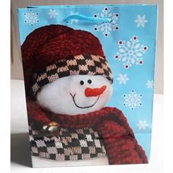 """Бумажный ламинированный пакет """"Снеговик в шарфе"""" 18*23см. - фото 6481"""
