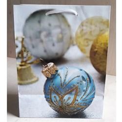 """Бумажный ламинированный пакет """"Голубой новогодний шар"""" 18*23см. - фото 6486"""