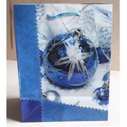 """Бумажный ламинированный пакет """"Синий новогодний шар"""" 18*23см. - фото 6489"""