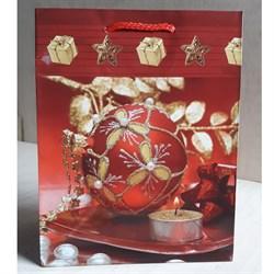 """Бумажный ламинированный пакет """"Красный новогодний шар"""" 18*23см. - фото 6499"""