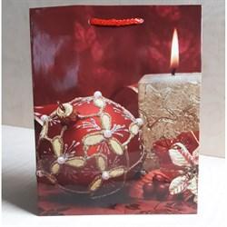 """Бумажный ламинированный пакет """"Красный новогодний шар 2"""" 18*23см. - фото 6503"""