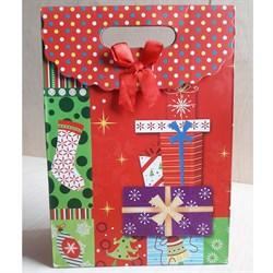 """Пакет картонный с вырубной ручкой на липучке """"Подарки"""" - фото 6529"""