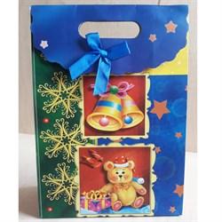 """Пакет картонный с вырубной ручкой на липучке """"Мишка"""" - фото 6534"""