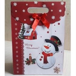 """Пакет картонный с вырубной ручкой на липучке """"Снеговик с трубкой"""" - фото 6539"""