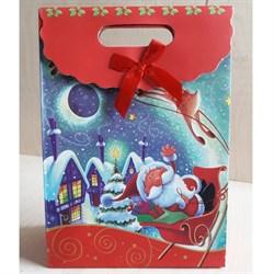 """Пакет картонный с вырубной ручкой на липучке """"Санта Клаус на санях"""" - фото 6563"""