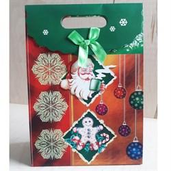"""Пакет картонный с вырубной ручкой на липучке """"Санта Клаус с чашкой"""" - фото 6573"""