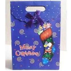 """Пакет картонный с вырубной ручкой на липучке """"Рождественский носок"""" - фото 6580"""