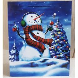 """Бумажный ламинированный пакет """"Снеговик в наушниках"""" 26*32см. - фото 6606"""