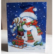 """Бумажный ламинированный пакет """"Снеговик и малыш"""""""