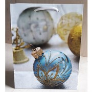 """Бумажный ламинированный пакет """"Голубой новогодний шар"""" 18*23см."""