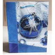 """Бумажный ламинированный пакет """"Синий новогодний шар"""" 18*23см."""