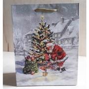 """Бумажный ламинированный пакет """"Санта Клаус под елкой"""" 18*23см."""