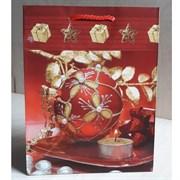 """Бумажный ламинированный пакет """"Красный новогодний шар"""" 18*23см."""