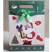 """Пакет картонный с вырубной ручкой на липучке """"Санта Клаус"""""""