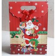 """Пакет картонный с вырубной ручкой на липучке """"Санта Клаус 3"""""""