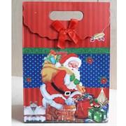 """Пакет картонный с вырубной ручкой на липучке """"Санта Клаус 4"""""""