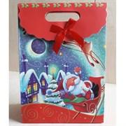 """Пакет картонный с вырубной ручкой на липучке """"Санта Клаус на санях"""""""