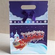 """Пакет картонный с вырубной ручкой на липучке """"Санта Клаус на санях 2"""""""