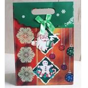 """Пакет картонный с вырубной ручкой на липучке """"Санта Клаус с чашкой"""""""