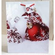 """Бумажный ламинированный пакет """"Новогодние шары"""" 26*32см."""