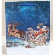 """Бумажный ламинированный пакет """"Санта Клаус на санях"""" 26*32см."""